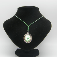 Silver Alloy, Clear Resin, Green Rhinestones Adjustable Necklace