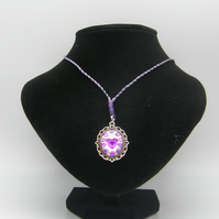 Silver Alloy, Clear Resin, Purple Rhinestones Adjustable Necklace