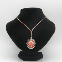 Silver Alloy, Clear Resin, Red Rhinestones Adjustable Necklace