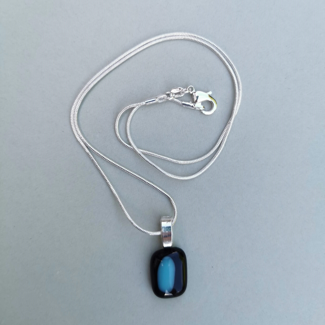 Black and Blue Glass Necklace with Sterling Silver Chain