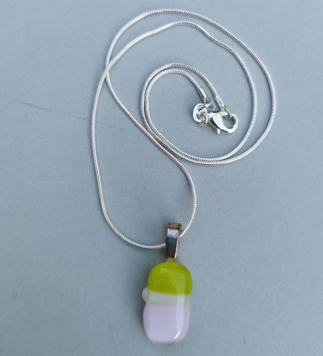 Green, White and Pink Glass Necklace with Sterling Silver Chain