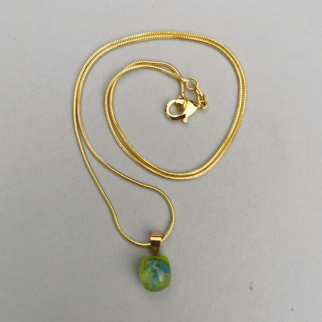 Small Green Glass Necklace with Gold Plated Chain