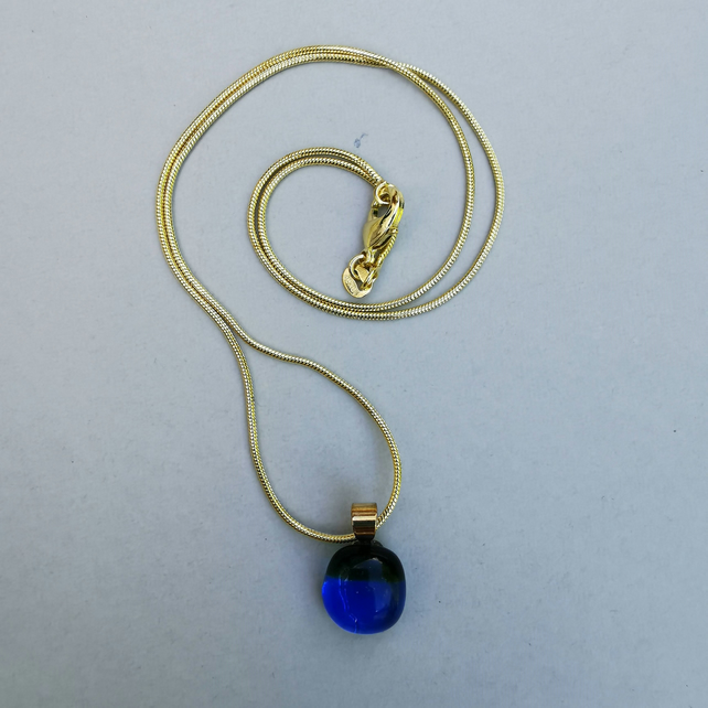 Clear Blue and Sparkling Green Glass Necklace with Gold Plated Chain