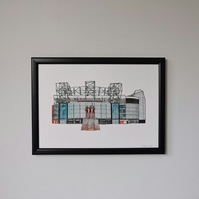 Watercolour Print of Manchester United Football Stadium
