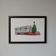 Watercolour Print of Nottingham Forest Football Stadium