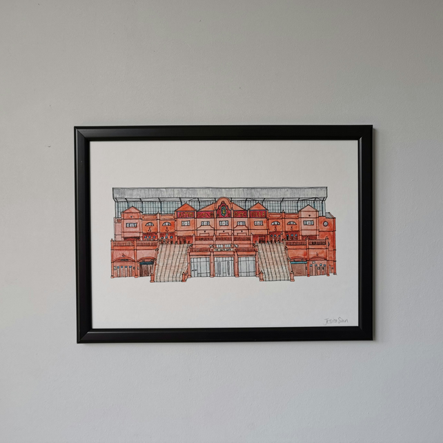 Watercolour Print of Aston Villa Football Stadium
