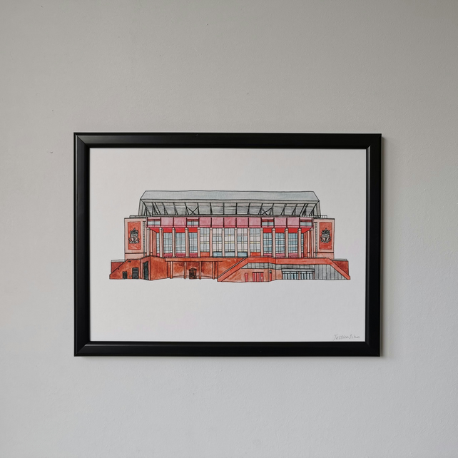 Watercolour Print of Liverpool Football Stadium