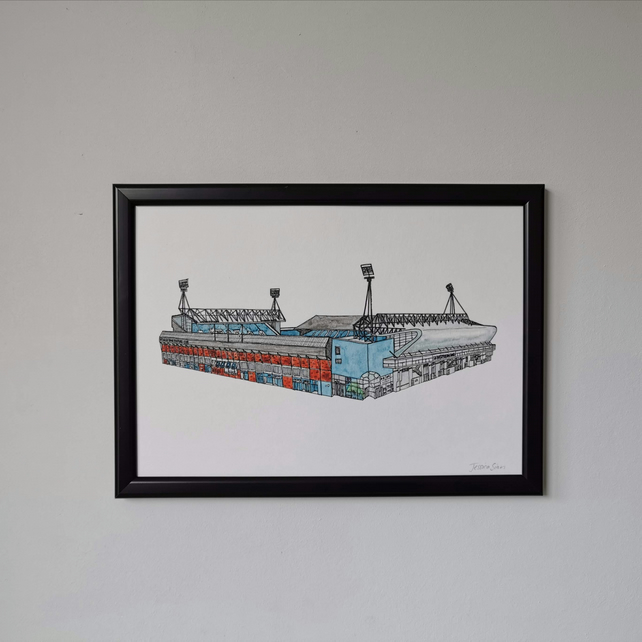 Watercolour Print of Ipswich Town Football Stadium