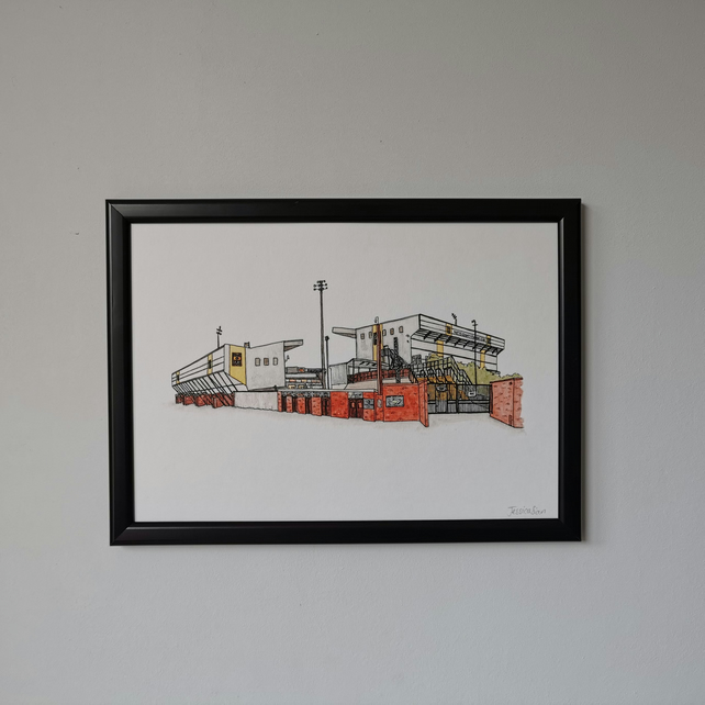 Watercolour Print of Notts County Football Stadium