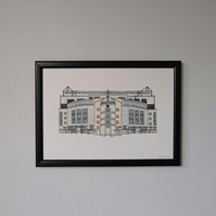 Watercolour Print of Chelsea Football Stadium