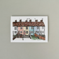 Colourful Houses Greetings Card
