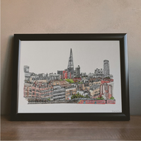 London Skyline Watercolour Print