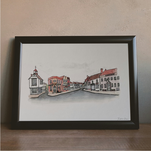 Dunmow High Street Watercolour Print