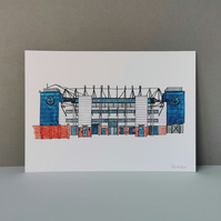 Watercolour Print of Everton Football Stadium