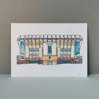 Watercolour Print of Leeds United Football Stadium