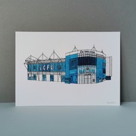 Watercolour Print of Leicester City Football Stadium