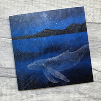 Deep Blue Whale Fine Art Blank Greeting Card