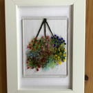 Hanging basket with flowers picture in 6x4ins white frame