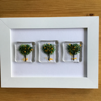 Picture. Orange trees fused glass picture in 6x4 white frame.