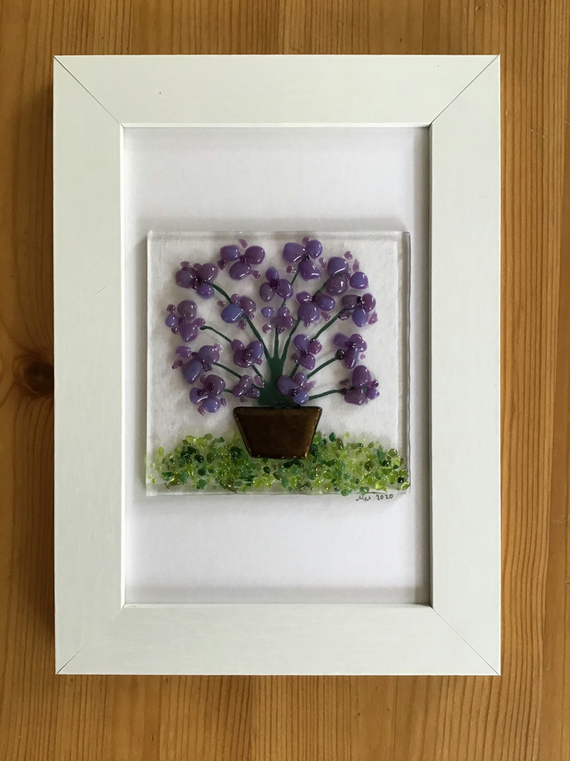 Purple flowers in tub fused glass picture, 6x4 frame..