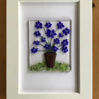 Blue flowers in tub fused glass picture, 6x4 frame..