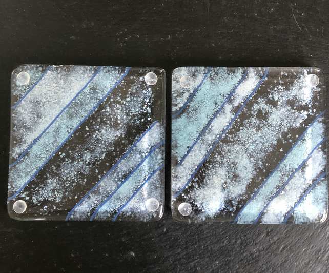 Coasters. Set of 2 clear, blue, grey fused glass coasters.