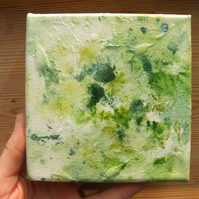 "Green leaves - 5x5"" original mini canvas"