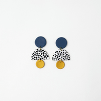 Semicircle Statement Earrings in Blue, Gold and Dalmatian Pattern