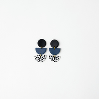 Small and Classy Statement Earrings in Black, Navy and Dalmatian Pattern