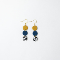 Geometric Statement Earrings in Blue, Gold and Dalmatian Pattern