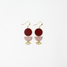 Burgundy and Dusty Pink Drop Statement Earrings with Brass Elements