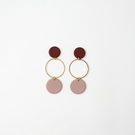 Burgundy & Dusty Pink Geometric Statement Earrings with Gold Plated Hoops
