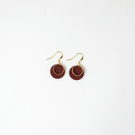 Small Burgundy Circle Statement Earrings with Gold Plated Hoop