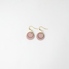 Small Dusty Pink Circle Statement Earrings with Gold Plated Hoop