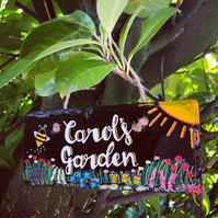 Hand Painted Hanging Garden Slate Sign