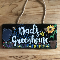 Hand Painted Hanging Greenhouse Slate Sign