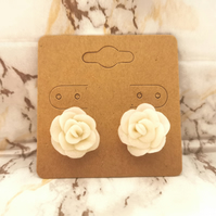 Sparkling white, clay, rose earring studs, stainless steel