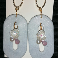 White gold glitter handmade polymer clay earrings wedding