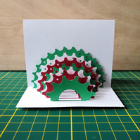 Cog Pop Up Card in Green, Red & White