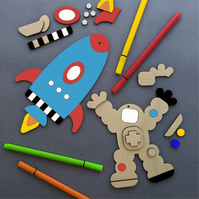 Spaceman and Rocket DIY Craft Kit, Ideal Gift, Kids Room Decor, Letterbox Gift