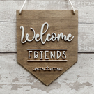 Welcome Friends Wall Pennant, Wall Banner, Flag, Wall Decor, Sign, Wall Hanging