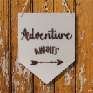 Adventure Awaits Wall Pennant, Wall Banner, Flag, Wall Decor, Sign, Wall Hanging