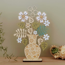 Personalised Wooden Flower Bouquet & Swirls Vase. Mother's Day Gift.