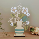 Personalised Wooden Flower Bouquet & Striped Vase. Mother's Day Gift.