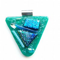 Triangular, Tack fused, Dichroic Glass Pendant, Turquoise background