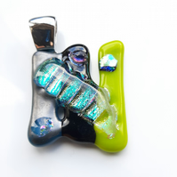 Off beat, Fused glass, Dichroic, Lime green, Stripes pendant