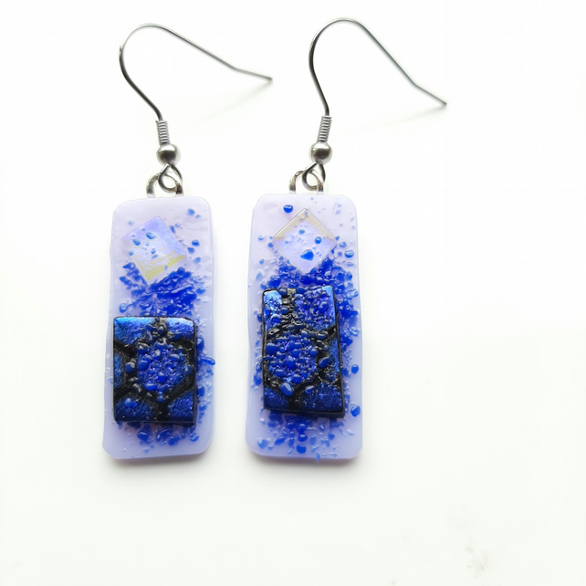 Lilac and purple, tack fused, dichroic glass, drop earrings