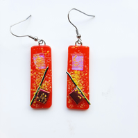 Bright red and yellow, Tack Fused Glass Earrings