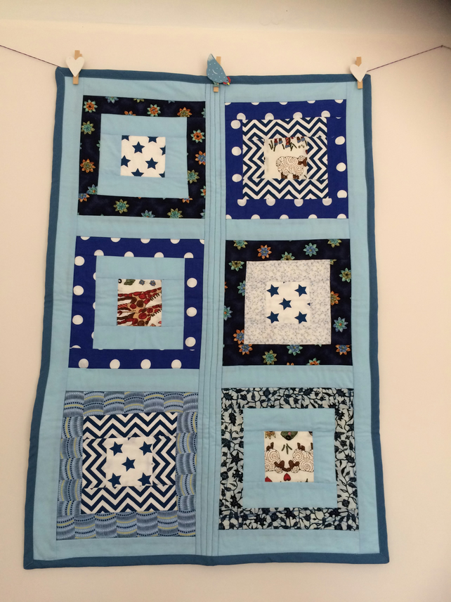 All the blues patchwork cot quilt