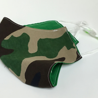 Large reusable, double layered, washable and adjustable green camo face mask
